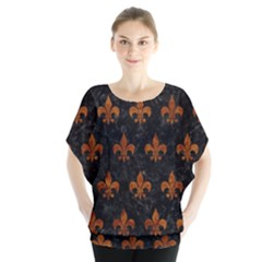 Royal1 Black Marble & Brown Marble (r) Batwing Chiffon Blouse