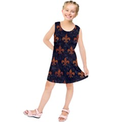 Royal1 Black Marble & Brown Marble (r) Kids  Tunic Dress