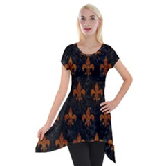 Royal1 Black Marble & Brown Marble (r) Short Sleeve Side Drop Tunic