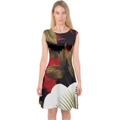 Paradis Tropical Fabric Background In Red And White Floral Capsleeve Midi Dress
