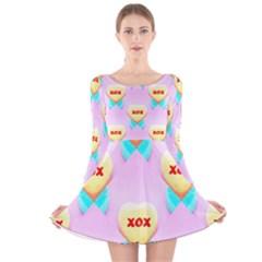 Pastel Heart Long Sleeve Velvet Skater Dress