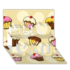 Colorful cupcakes pattern Miss You 3D Greeting Card (7x5)