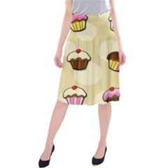Colorful cupcakes pattern Midi Beach Skirt