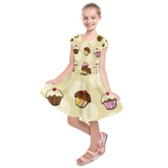 Colorful Cupcakes Pattern Kids  Short Sleeve Dress
