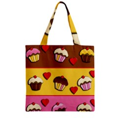 Love Cupcakes Zipper Grocery Tote Bag