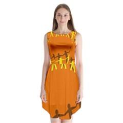March Line Sleeveless Chiffon Dress