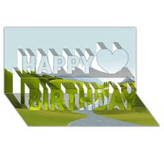 Scenery Happy Birthday 3d Greeting Card (8x4)