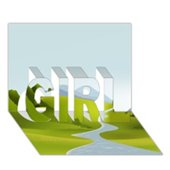Scenery Girl 3d Greeting Card (7x5)