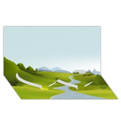 Scenery Twin Heart Bottom 3d Greeting Card (8x4)
