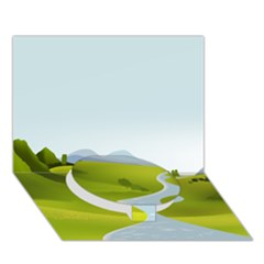 Scenery Circle Bottom 3d Greeting Card (7x5)