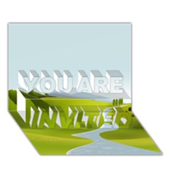 Scenery You Are Invited 3d Greeting Card (7x5)