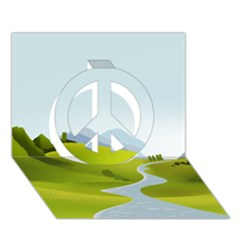 Scenery Peace Sign 3d Greeting Card (7x5)