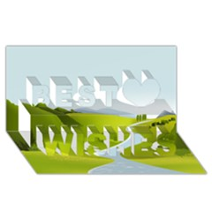 Scenery Best Wish 3d Greeting Card (8x4)