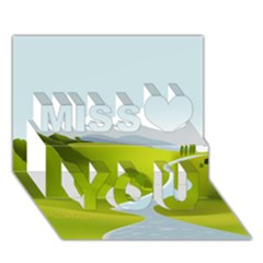 Scenery Miss You 3d Greeting Card (7x5)