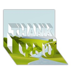 Scenery Thank You 3d Greeting Card (7x5)