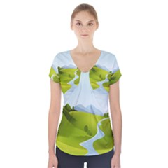 Scenery Short Sleeve Front Detail Top
