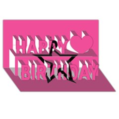 Star Happy Birthday 3d Greeting Card (8x4)