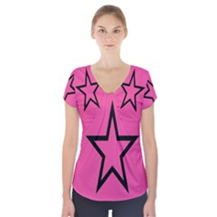 Star Short Sleeve Front Detail Top