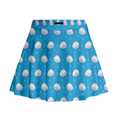 Seamless Fluffy Cloudy And Sky Mini Flare Skirt