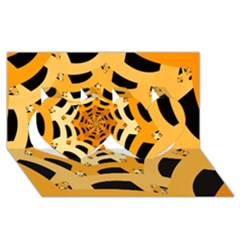 Spider Helloween Yellow Twin Hearts 3d Greeting Card (8x4)