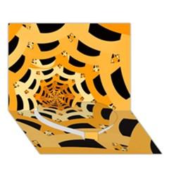 Spider Helloween Yellow Heart Bottom 3d Greeting Card (7x5)