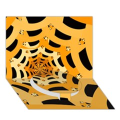 Spider Helloween Yellow Circle Bottom 3d Greeting Card (7x5)