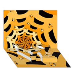 Spider Helloween Yellow Love Bottom 3d Greeting Card (7x5)