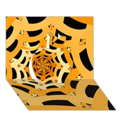 Spider Helloween Yellow Apple 3d Greeting Card (7x5)