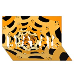 Spider Helloween Yellow Best Sis 3d Greeting Card (8x4)