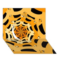 Spider Helloween Yellow Circle 3d Greeting Card (7x5)