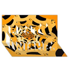 Spider Helloween Yellow Best Wish 3d Greeting Card (8x4)