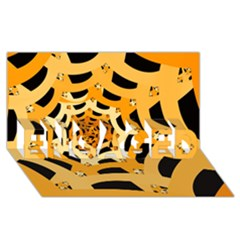Spider Helloween Yellow Engaged 3d Greeting Card (8x4)