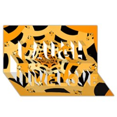 Spider Helloween Yellow Laugh Live Love 3d Greeting Card (8x4)
