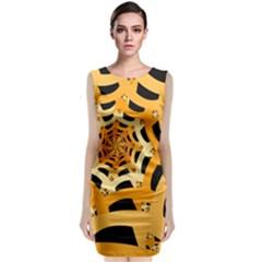 Spider Helloween Yellow Classic Sleeveless Midi Dress