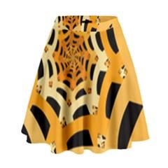 Spider Helloween Yellow High Waist Skirt