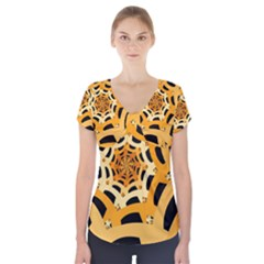 Spider Helloween Yellow Short Sleeve Front Detail Top