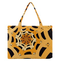 Spider Helloween Yellow Medium Zipper Tote Bag