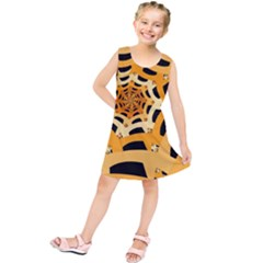 Spider Helloween Yellow Kids  Tunic Dress