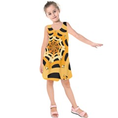 Spider Helloween Yellow Kids  Sleeveless Dress