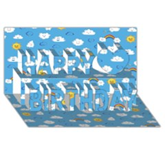 White Clouds Happy Birthday 3d Greeting Card (8x4)