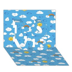 White Clouds Love 3d Greeting Card (7x5)
