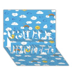 White Clouds You Are Invited 3d Greeting Card (7x5)