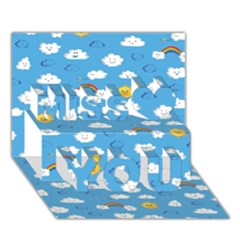 White Clouds Miss You 3d Greeting Card (7x5)