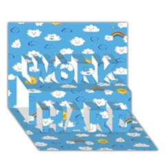 White Clouds Work Hard 3d Greeting Card (7x5)