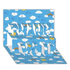 White Clouds Thank You 3d Greeting Card (7x5)