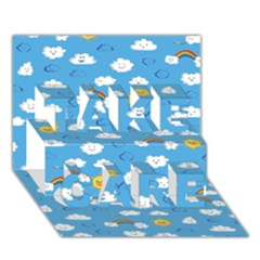 White Clouds Take Care 3d Greeting Card (7x5)