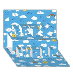 White Clouds Get Well 3d Greeting Card (7x5)