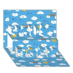 White Clouds You Rock 3d Greeting Card (7x5)