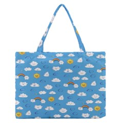 White Clouds Medium Zipper Tote Bag
