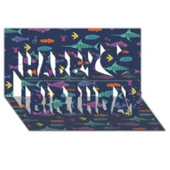 Twiddy Tropical Fish Pattern Happy Birthday 3d Greeting Card (8x4)